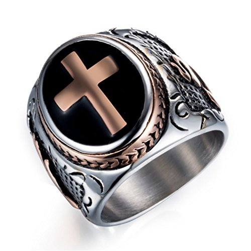 - Faithre Mens Signet Rings Cross Titanium Steel S0798 Rose Gold 11
