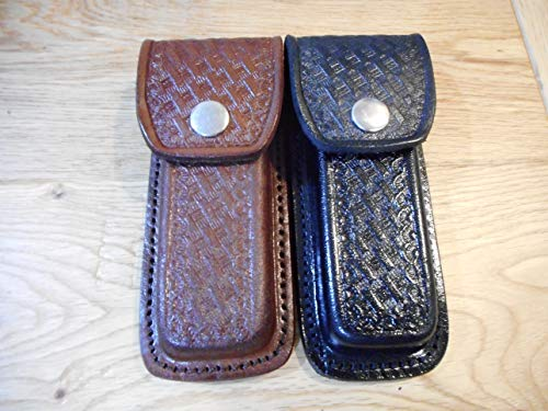 Lot of 2 - Black & Brown Basket Weave Leather Knife Sheath - Holds a Buck 110.