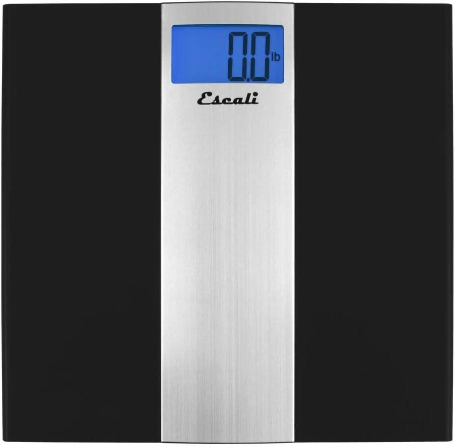 Escali US180B Ultra Slim Low Profile Bathroom Body Scale, LCD Digital Display,400lb Capacity, Black/Silver