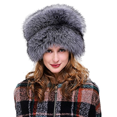URSFUR Womne's Silver Fox All Fur Zhivago Pill Box Fur Hat Natural Color by URSFUR