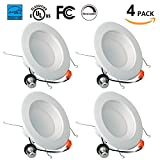 Enegitech 6 Inch Dimmable 13W (=100W) Led Retrofit Downlight Energy Star 1100LM 5000K Crystal White Glow UL Listed Recessed Trim Ceiling Light Fixture 4 Pack