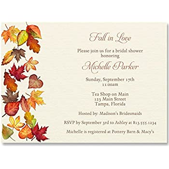 bridal shower invitations falling for autumn off white orange red green yellow brown autumn wedding fall bridal shower fall leaves
