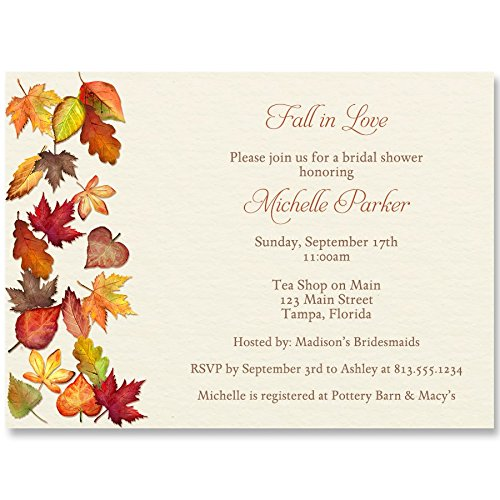 Wedding Fall Invitation Leaves (Bridal Shower Invitations, Falling For Autumn, Off-White, Orange, Red, Green, Yellow, Brown, Autumn Wedding, Fall Bridal Shower, Fall Leaves, Set of 10 Custom Printed Invites with Envelopes)