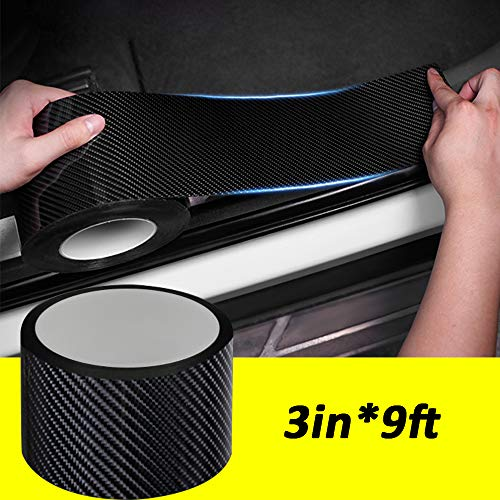 QBUC Car Door Entry Guards Scratch Cover Protector Paint Threshold Guard,Front Rear Door Entry Sill Guard Scuff Plate for Most Cars,3in9ft(7cm3m) Black