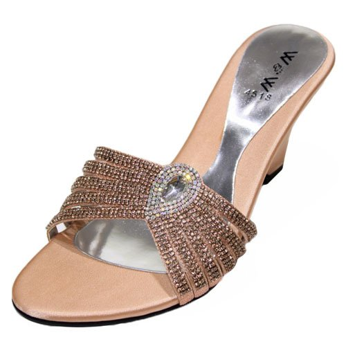 Wear & Walk UK - Sandalias de vestir para mujer rosa - Peach