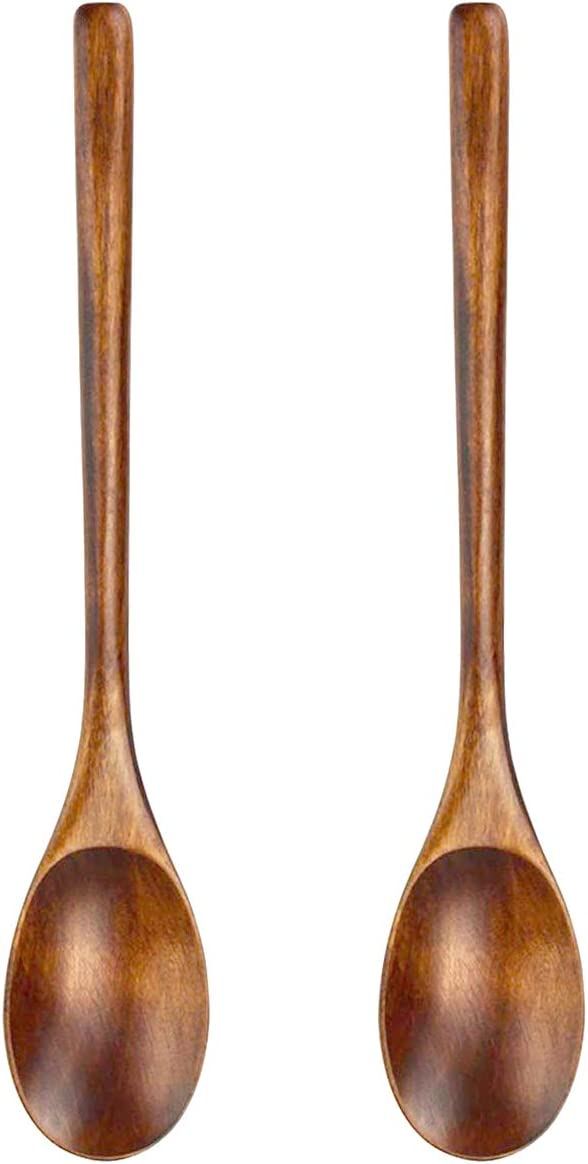 Wooden Spoon 2Pcs Japanese Style Long Handle Spoons for Home and Kitchen Stirring Cooking