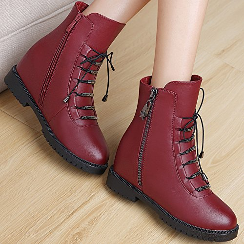 KHSKX-Autumn And Winter Women'S Shoes Autumn And Winter Women'S Casual Korean Version Of Short Boots Side Flat Bottomed Round Fashion Tide Thirty-seven jQiH7kra