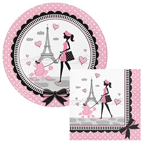 Party in Paris Lunch Plates & Napkins Party Kit for 8