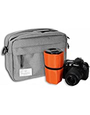 Activewhey Waterproof Camera Bag Large, Insert Case for DSLR, Mirrorless and Film Camera, Padded Shoulder Pouch for Canon, Nikon, Fujifilm, Sony, Leica (Gray)