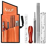 Katzco 8 Piece Chainsaw Sharpener File Kit - Contains 5/32, 3/16, 7/32 Inch Files, Wood Handle, Depth Gauge, Filing Guide, Tool Pouch - for Sharpening & Filing Chainsaws & Other Blades