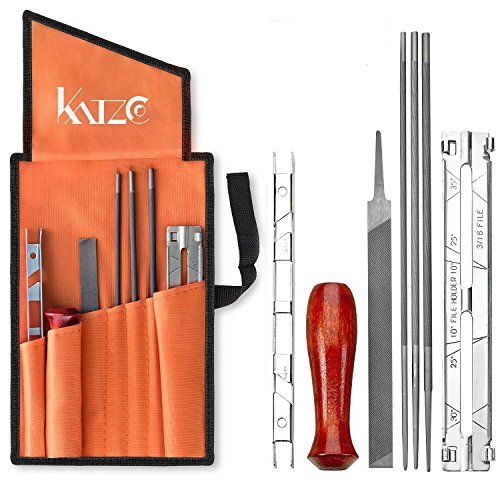 Chainsaw Gauge - 8 Piece Chainsaw Sharpener File Kit - Contains 5/32, 3/16, & 7/32 Inch Files, Wood Handle, Depth Gauge, Filing Guide, & Tool Pouch - For Sharpening & Filing Chainsaws & Other Blades - By Katzco