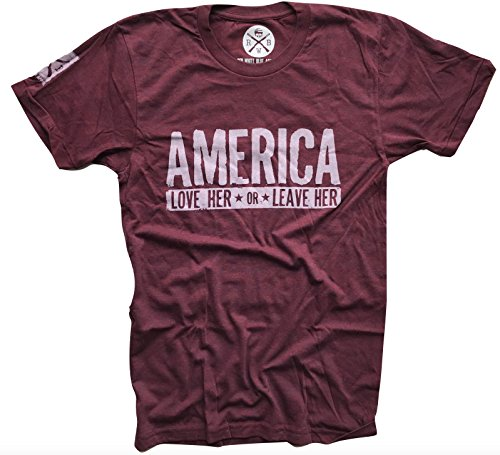 Red White Blue Apparel America Love Her Or Leave Her Patriotic T-Shirt Made In USA by Red White Blue Apparel Co. (Image #1)