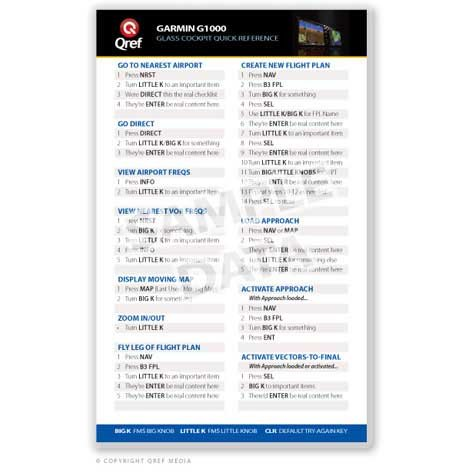 - Garmin GNS 530/430 Series Qref Card Checklist (Qref Avionics Quick Reference)
