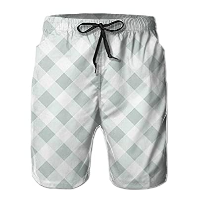 Men's Shorts Summer Casual Swim Trunk Quick Dry Classic Green White Tartan Printed Beach Shorts With Pockets