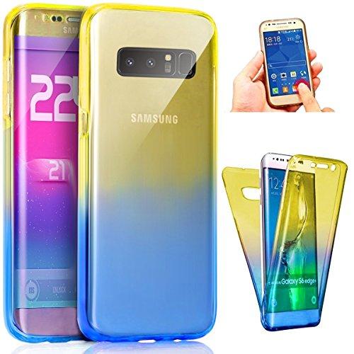 Carcasa para Samsung Galaxy Note 8, Funda Samsung Galaxy Note 8 360 Grados, EUWLY Full Body Delantera y Trasera Doble Protección Completa Cover Caso Ultra Delgado Degradado de Color Diseño Flexible Su Amarillo+Azul