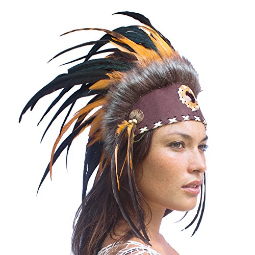 [Unique Feather Headdress- Native American Indian Inspired- Handmade by Artisan Halloween Costume for Men Women with Real Feathers - Orange with] (Red Indian Princess Costume)