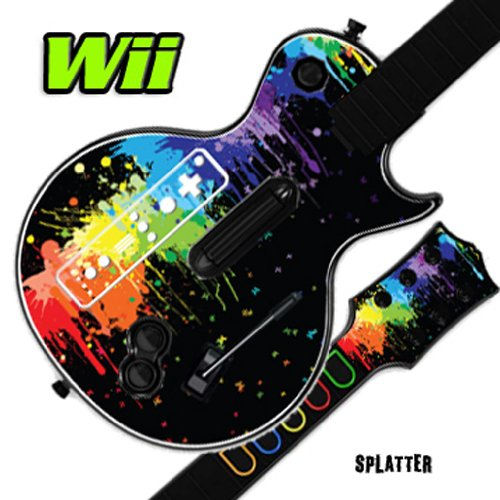 Nintendo Wii Guitar Hero Faceplates (Mightyskins Skin Decal Cover for GUITAR HERO 3 III Nintendo Wii Les Paul - Splatter)