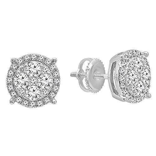 0.95 Carat (ctw) 10K White Gold Round Cut White Diamond Ladies Cluster Flower Stud Earrings 1 CT