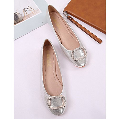 T-july Flats Shoes Per Donna Casual Tondo Balletto Comfort Dress Slip On Silver