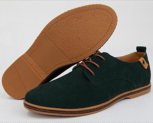 Summerwhisper Mens Casual Frosted Lace-up Oxfords Flat Shoes Green WoJO9
