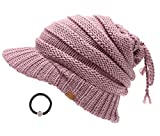 D&Y Women's Beanie Tail Cable Knit Visor Ponytail Beanie Hat With Hair Tie.(Mauve)