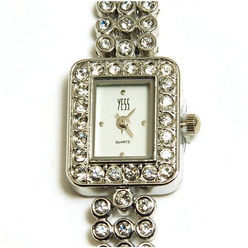 YESS F48367 - Reloj para mujeres, correa de metal color plateado: Amazon.es: Relojes