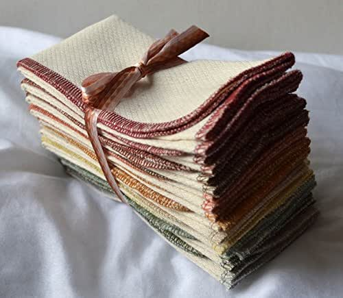 Heavy Duty-Paperless Towels, 2-Ply, Made from Natural Unbleached Cotton Birdseye Fabric - 11x12 inches (28x30.5 cm) Set of 10 in Assorted Earthtone Colors