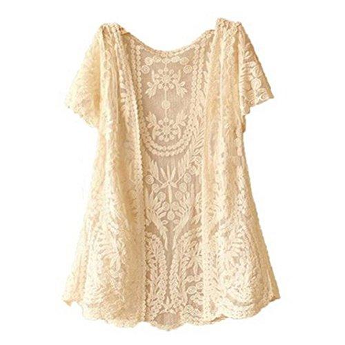 WINOMO Damen sportlich Bluse Mädchen aus Gewirken offene Weste Boho Sommer Vertuschung häkeln Pullover Bluse (Beige)