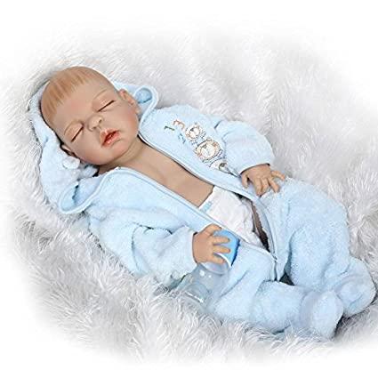 b2bbb05424d4 Amazon.com  Full Silicone Reborn Baby Lifelike Sleeping Newborn Boy ...