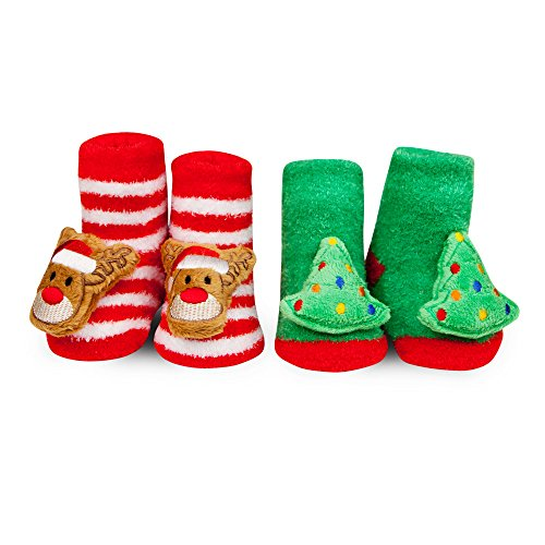 Boutique Bibs Baby Chenille - WADDLE Holiday Gift Baby Christmas Tree Reindeer Rattle Socks Red Green 0-12 Mth
