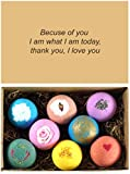 LifeAround2Angels 8 USA Made Bath Bombs Gift Set - 4.5oz Each - A Unique Luxury Gift for Her - Bath Bombs Kit - Ultra Lush Spa Fizzies - Best Gift Ideas - Valentine's Day Gift Set - (Message 2)