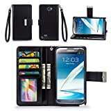 note 2 wallet case - Galaxy Note 2 Case, IZENGATE [Classic Series] Wallet Case Premium PU Leather Flip Cover Folio with Stand for Samsung Galaxy Note 2 (Black)