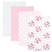 Luvable Friends 4 Piece Flannel Receiving Blankets, Floral