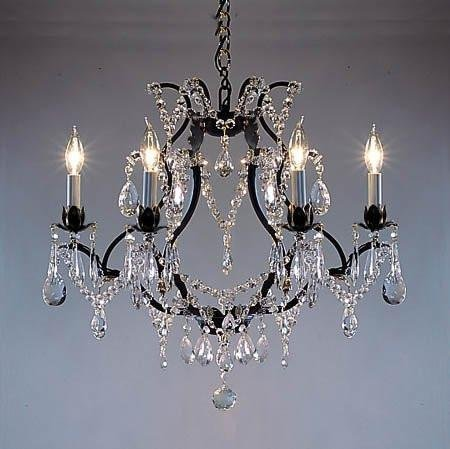 - Wrought Iron Crystal Chandelier Chandeliers Lighting H18