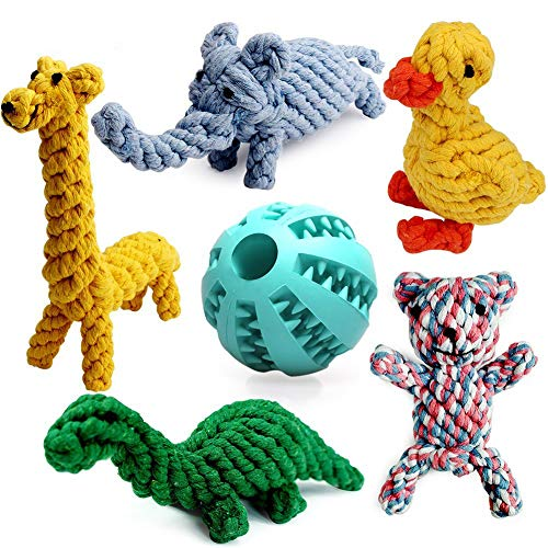 Nesoul Dog Toys 6 Pack, Animal Design Cotton Rope Teething Toys with Rubber Ball Toy for Small Dog and Puppy (Set of 6)