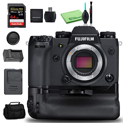 FUJIFILM X-H1 Mirrorless Digital Camera Body with Battery Grip Kit 24.3MP – Kit with 64GB Memory Card + Spare Battery + More