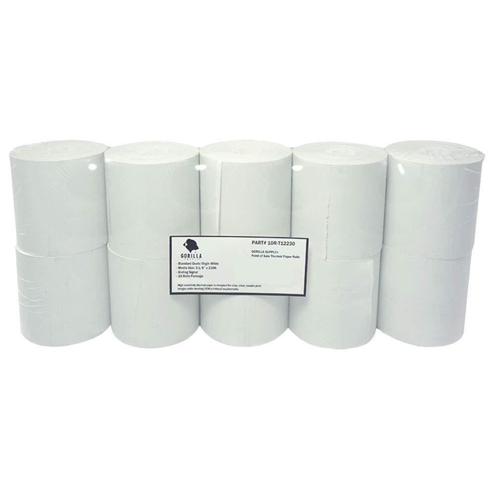Gorilla Supply Thermal Receipt Paper Rolls 3 1/8 x 230 10 Rolls by Gorilla Supply