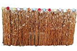 orange Hawaiian Luau Silk Faux Flowers Table Hula Grass Skirt for Party Decoration, Events, Birthdays, Celebration,wide 2.5 ft x Long 9 ft