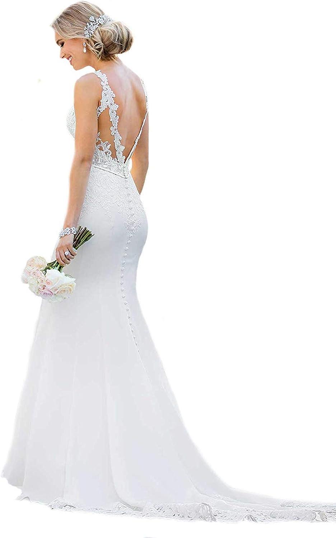 WeddingDazzle Bridal Dresses Sexy Backless Lace Appliques Mermaid Wedding Dresses for Bride