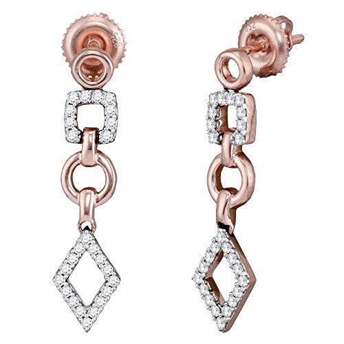 Roy Rose Jewelry 14K Rose Gold Womens Round Diamond Geometric Dangle Earrings 1/3-Carat tw
