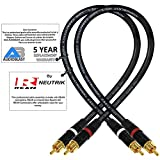 1.5 Foot RCA Cable Pair - Audioblast HQ-1 - Ultra Flexible - Dual Shielded (100%) High-Definition Audio Interconnect Cable and Neutrik-Rean NYS Gold RCA Connectors (2 cables, each 1.5 Foot long)