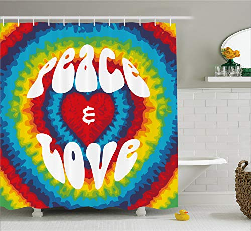 Ambesonne 70s Party Shower Curtain, Peace and Love Groovy Sixties Tie Dye Effect Heart Shaped Abstract Rainbow Print, Cloth Fabric Bathroom Decor Set with Hooks, 70 Inches, White and Rainbow