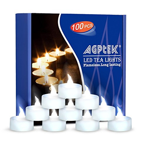 AGPtEK Tea Lights,100 Pack Flameless LED Candles Battery Operated Tealight Candles No Flicker Long Lasting Tealight for Wedding Holiday Party Home Decoration(Cool White)]()