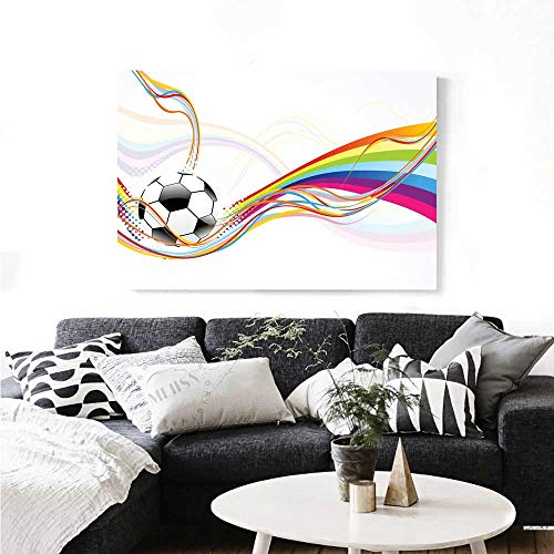 Football Daisy Canvas Vintage (Soccer Modern Canvas Painting Wall Art Rainbow Patterned Swirled Lines Abstract Football Pattern Colorful Stripes Design Art Stickers 28