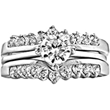 Trustmark Sterling Silver 1.04ct Ice on Fire CZ Wedding Ring Set with Ring Guard, Christina 3101B