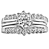 1000 jewels wedding sets - Trustmark Sterling Silver 1.04ct Ice on Fire CZ Wedding Ring Set with Ring Guard, Christina 3101B sz 7.0