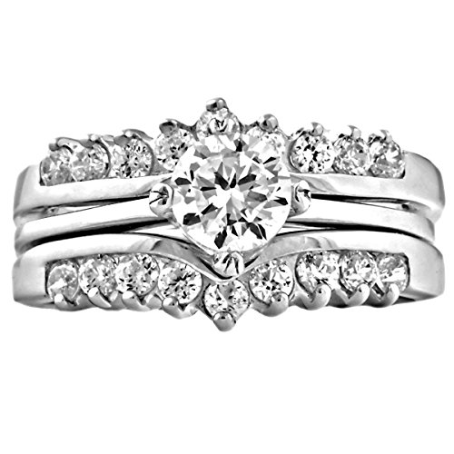 (Trustmark Sterling Silver 1.04ct Ice on Fire CZ Wedding Ring Set with Ring Guard, Christina 3101B sz 6.0)