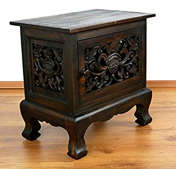 Asian bedside table, cupboard, bedside chest, solid wood furniture,  handmade from Thailand