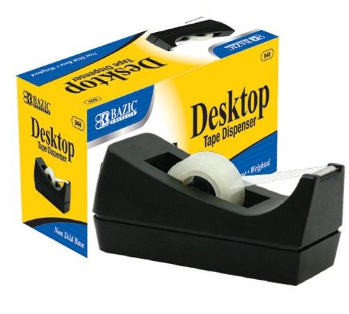 BAZIC 1 Inch Core Desktop Tape Dispenser, Black (940-12)  Pack of 12