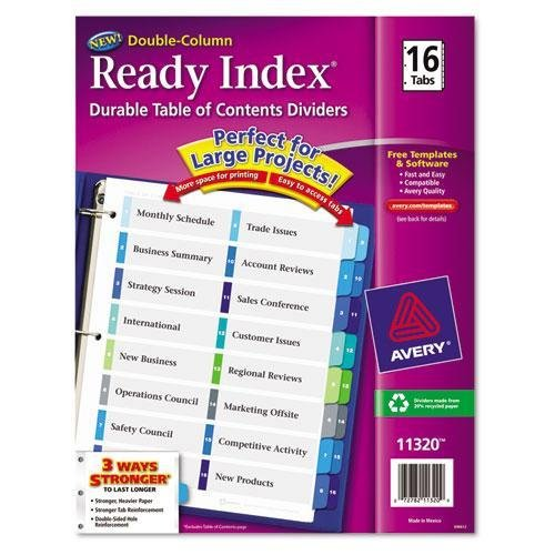 AVERY 11320 Ready Index Two-Column Table of Contents Divider, Title: 1-16, Multi, Letter ()